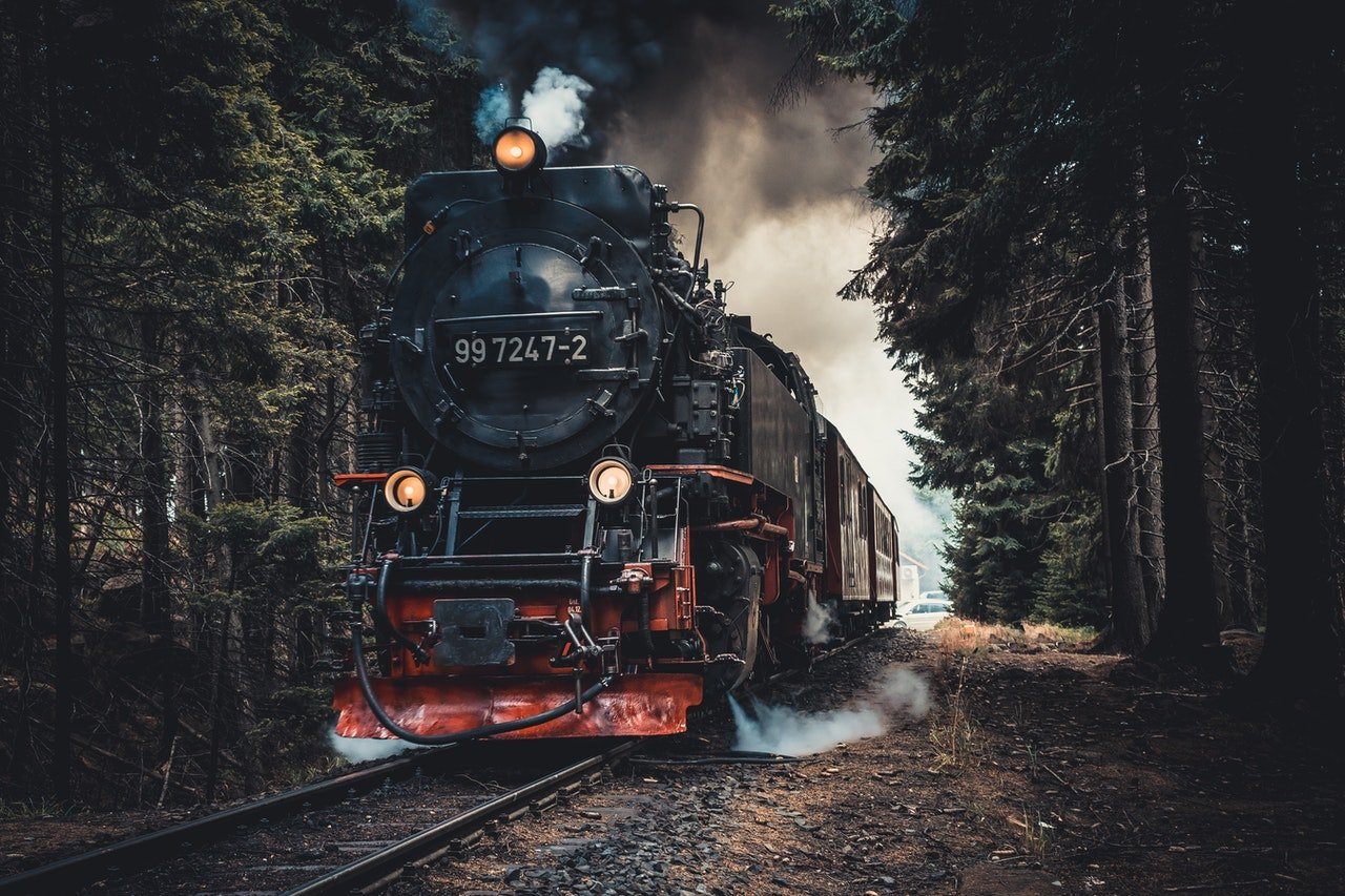 old train locomotive driving through the forest